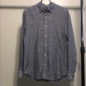 H&M Long Sleeve Button Down Dress Shirt Grey